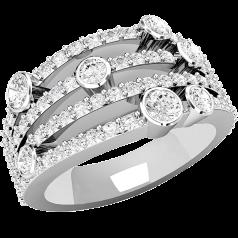 RD502W - 18kt Weissgold Phantasie Ring mit runden Brillant Schliff Diamanten sowohl in Krappenfassung wie in Zargenfassung