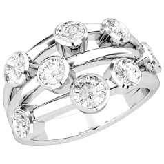 Dress Cocktail Ring for Women in platinum with 8 round brilliant cut diamonds in a rub-over setting