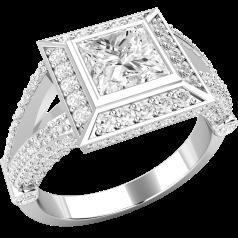 Inel de Logodna cu Mai Multe Diamante Dama Aur Alb 18kt cu un Diamant Central Princess in Setare Rub-Over si Diamante Rotund Briliant pe Lateral si Margini