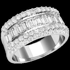 RD509PL - Inel din platină cu diamante baghetă în setare canal în centru, şi diamante rotunde în setare pavată pe fiecare parte