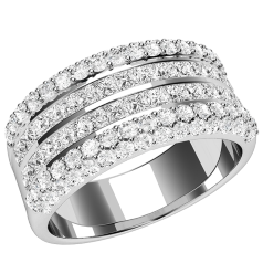 RD510PL - Platin Ring mit 2 Reihen Princess Schliff Diamanten in Kanalfassung, mit runden Brillanten in Pavéfassung auf beiden Seiten