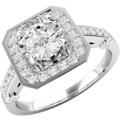 Single Stone Engagement Ring With Shoulders/Cluster Engagement Ring for Women in 18ct White Gold with a Round Brilliant Diamond Diamond in a Claw Setting in the Centre and Small Round Brilliant Cut Diamonds Surrounding it