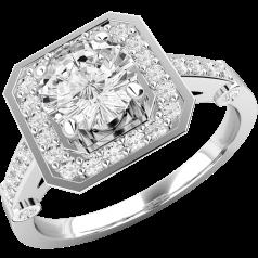 RD516W - Inel aur alb 18kt cu diamant rotund brilliant in centru, in setare gheare si diamante mici rotunde brilliant imprejur
