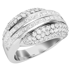 RD519W - 18ct white gold diamond dress ring with 2 rows of princess cut and 3 rows of round brilliant cut diamonds either side.