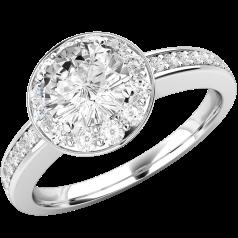 RD520PL- Inel cluster din platină cu un diamant central rotund brilliant în setare cu patru gheare, înconjurat de diamante mici rotunde brilliant.