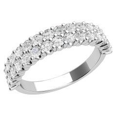 Half Eternity Ring for women in platinum with round brilliant cut diamonds in claw setting in 2 rows