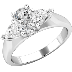 Three Stone Ring/Engagement Ring for women in platinum with an oval cut and two pear-shaped diamonds