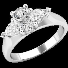 Drei-Steine Ring/Verlobungsring für Dame in 18kt Weißgold mit einem Ovalen und 2 Tropfen-Schliff Diamanten
