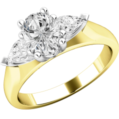 Three Stone Ring/Engagement Ring for women in 18ct yellow and white gold with an oval cut and two pear-shaped diamonds