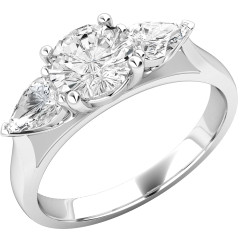 Single Stone Engagement Ring With Shoulders/Three Stone Ring for women in 18ct white gold with a round brilliant cut diamond and a pear shape diamond on either side all in a claw setting