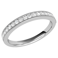Half Eternity Ring/Diamond set wedding ring for women in 9ct white gold with 19 round brilliant cut diamonds in claw setting