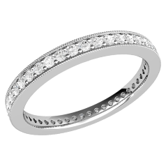 Full Eternity Ring/Diamond set wedding ring for women in palladium with round brilliant cut diamonds in a claw setting