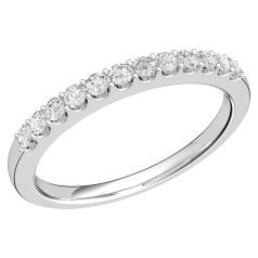 Half Eternity Ring for women in 9ct white gold with 12 round brilliant cut diamonds in claw setting