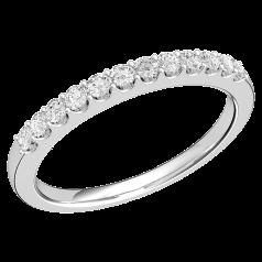 Halb Eternity Ring für Dame in 9kt Weißgold mit 12 runden Brillant Schliff Diamanten in Krappenfassung
