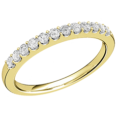 Inel semi eternity Dama Aur Galben 18kt cu 12 Diamante Rotund Briliant in Setare Gheare