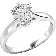 Single Stone Engagement Ring for Women in Palladium with a Round Brilliant Cut Diamond with a Claw Setting