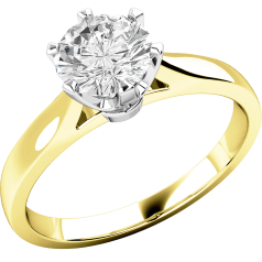Inel de Logodna Solitaire Dama Aur Galben si Aur Alb 18kt cu un Diamant Rotund Briliant in Setare Gheare in Stoc