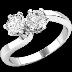 Inel de Logodna Solitaire Dama Aur Alb 18kt cu 2 Diamante Rotund Briliant in Setare Gheare