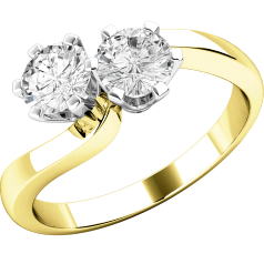 Engagement Ring for Women in 18ct Yellow and White Gold with 2 Round Brilliant Cut Diamonds with Claw Setting on a Twist