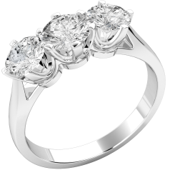 Three Stone Ring/Engagement Ring for women in platinum with 3 round brilliant cut diamonds in a claw setting