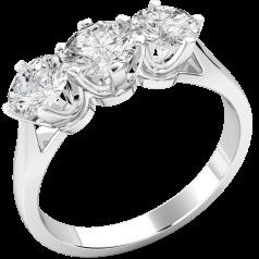 Inel de Logodna cu 3 Diamante Dama Aur Alb 18kt cu 3 Diamante Rotund Briliant in Setare Gheare