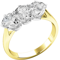 Three Stone Ring/Engagement Ring for women in 18ct yellow and white gold with 3 round brilliant cut diamonds in a claw setting