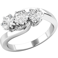 Three Stone Ring/Engagement Ring for women in platinum with 3 round brilliant cut diamonds set on a twist