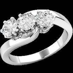 Drei-Steine Ring/Verlobungsring für Dame in 18kt Weißgold mit 3 runden Diamanten, Twist Stil