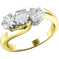Three Stone Ring/Engagement Ring for women in 18ct yellow and white gold with 3 round brilliant cut diamonds set on a twist