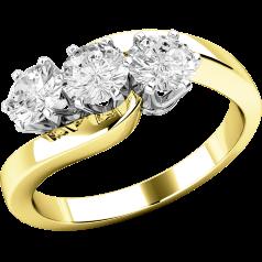 Trilogie Ring/Verlobungsring für Dame in 18kt Gelb- und Weißgold mit 3 runden Diamanten, Twist Stil