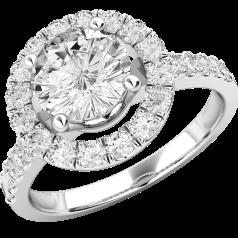 RD543PL-Inel platină cluster stil halo cu diamante rotunde brilliant, toate în setare cu gheare.