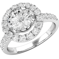 Dress Cocktail Ring/Diamond Cluster Engagement Ring for Women in 18ct white gold with round brilliant cut diamonds in claw setting, Halo style