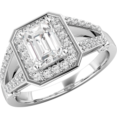 Dress Cocktail Ring/Diamond Cluster Engagement Ring for Women in 18ct white gold with an emerald cut diamond centre, with a round brilliant cut diamond surround