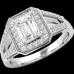 Cocktail Ring mit Diamanten/Verlobungsring im Cluster Stil für Dame in 18kt Weißgold mit einem Smaragd Schliff Diamanten umgeben von runden Brillanten