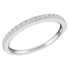 Diamond Set Eternity/Wedding Ring for Women in 9ct White Gold with 24 Round Brilliant Cut Diamonds in a Claw Setting, Width 1.6mm