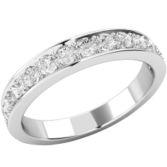 Halb Eternity Ring für Dame in 9kt Weißgold mit 13 runden Brillanten in Krappenfassung