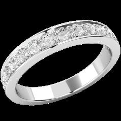RD548U - Palladium eternity ring with 13 round brilliant cut diamonds in a claw setting