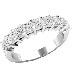 RD549W - 18ct white gold eternity ring with 9 claw set princess cut diamonds.