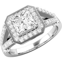 RD550W - Inel aur alb 18kt cu diamant central princess, inconjurat de diamante mai mici rotunde brilliant.