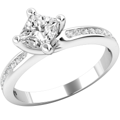 Single Stone Engagement Ring With Shoulders for Women in Palladium with a Princess Cut Diamond in a 4-Claw Setting, with 11 Round Brilliant Cut Diamonds in Channel Setting on either side