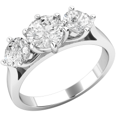 Three Stone Ring/Engagement Ring for women in platinum with 3 round brilliant cut diamonds all in a claw setting