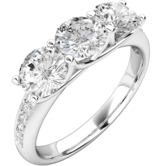 Three Stone Engagement Ring with Shoulders For Women in Platinum with 3 Round Diamonds in a Claw Setting and Shoulder-Diamonds in a Channel Setting