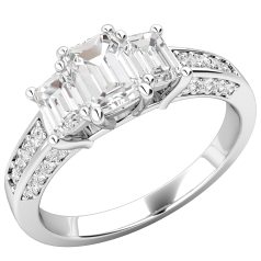 Three Stone Engagement Ring with Shoulders For Women in Platinum with 3 Emerald Cut Diamonds and Round Brilliant Cut Diamonds on the Shoulders