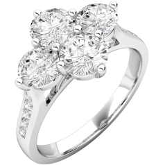 Cluster Engagement Ring For Women in 18ct White Gold with 4 Round Brilliant Cut Diamonds in a Claw Setting and Round Brilliant Cut Diamonds in a Channel Setting on the Shoulders