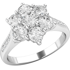 Cluster Engagement Ring For Women in 18ct White Gold with Seven Round Brilliant Cut Diamonds in a Claw Setting with Shoulder-Diamonds in a Channel Setting