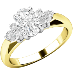 Three Stone Ring/Engagement Ring for women in 18ct yellow and white gold with an oval diamond centre, and a cluster of 3 round diamonds on either side all in a claw setting