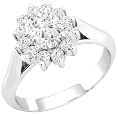 Dress Cocktail Ring/Diamond Cluster Engagement Ring for Women in 18ct white gold with an oval diamond centre, sorrounded by round brilliant cut diamonds all in a claw setting