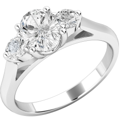 Three Stone Engagement Ring For Women in Platinum with an Oval Cut Diamond and a Round Brilliant Cut Diamond on Either Side, all in a Claw Setting