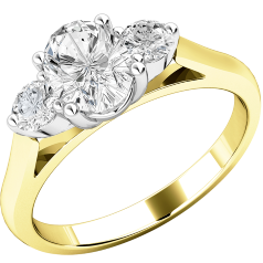 Three Stone Engagement Ring For Women in 18ct Yellow and White Gold with an Oval Cut Diamond and a Round Brilliant Cut Diamond on Either Side, all in a Claw Setting