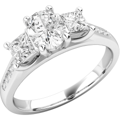 Three Stone Engagement Ring with Shoulders For Women in Platinum with an Oval Diamond Centre, 2 Princess Cut Diamonds in Claw Setting, and Round Brilliant Cut Diamonds in a Channel Setting on the Shoulders